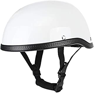 Romacci Meio capacete de motocicleta estilo retro ABS + tampa de plástico de algodão - branco brilhante para motociclista ...