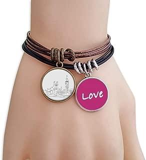 Sketch UK Landmark Flag Mark Illustration Love Bracelet Leather Rope Wristband Couple Set