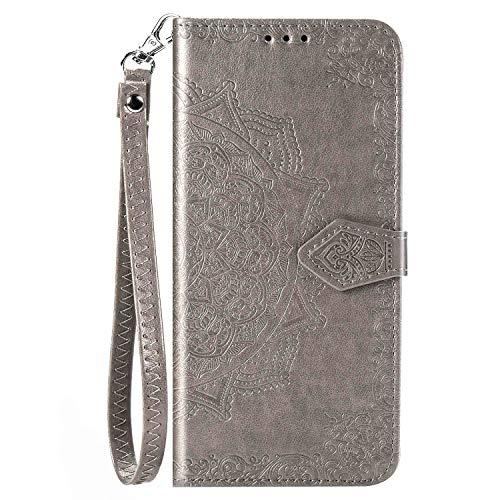 CaseHQ Kompatibel mit iPhone 12 Mini Hülle 5,4 Zoll (2020), Brieftaschen-Hülle für Damen und Mädchen, Premium-Band mit Kartenhalter, 3D-geprägte Datura-Blume, PU-Leder Flip Silber