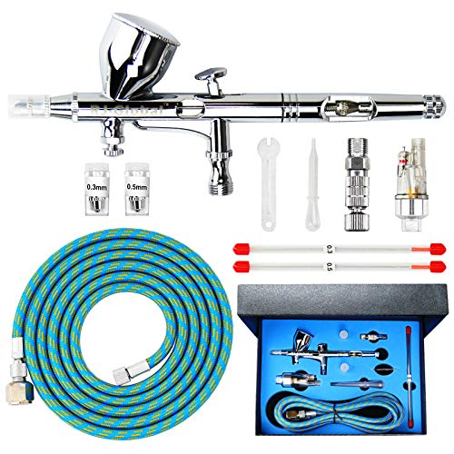 Double Action Airbrush Kit Air Brush Spray Paint Tool with 0.3mm/0.2mm/0.5mm Needles, 9CC Paint Cup and Air Hose for Tattoo Nail Art Car Hobby Painting Photo Retouching Cake Decorating and Textiles