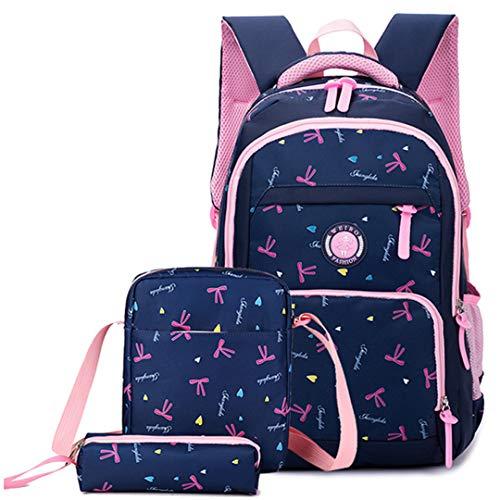 Juego de 3 mochilas escolares ortopédicas de princesa, mochila escolar, mochila para niños, mochila primaria, mochila infantil, azul (Azul) - RS190812