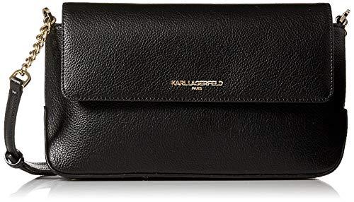 Karl Lagerfeld Paris Damen Flap Crossbody Iris Hermine, Umhängetasche mit Klappe, schwarz/gold, Einheitsgröße