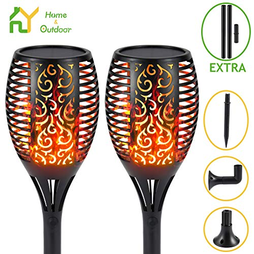 S.Y. Solar Lights Outdoor, 2 Pack, 96 LED Solar Torch Light with Dancing Flickering Flames, 3 Installation, 2 Heights Available, Waterproof Landscape Solar Garden Lights, Auto On/Off Outdoor Lighting
