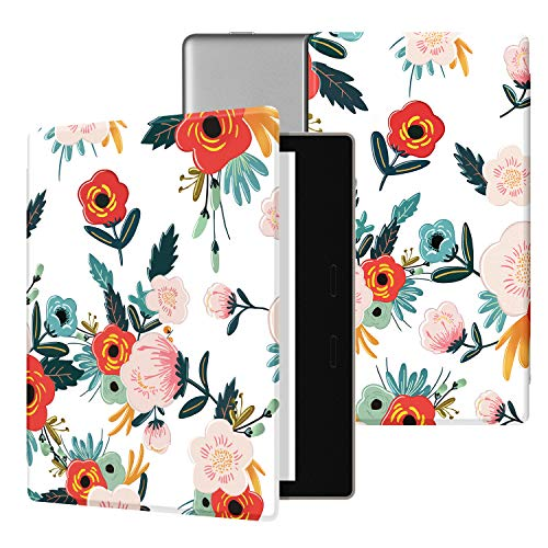 Ayotu Colorful Case for All-New Kindle Oasis (10th Gen, 2019 Release & 9th Gen, 2017), Premium PU Leather Cover with Auto Wake/Sleep, Strong Adsorption for 7''Kindle Oasis, Flowers