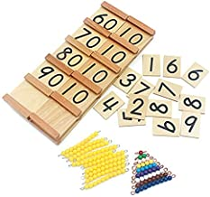 Danni Math Toys Montessori Wood Seguin Teens and Tens Boards Color Beads Bar Toy for Children Early Childhood Preschool Tr...