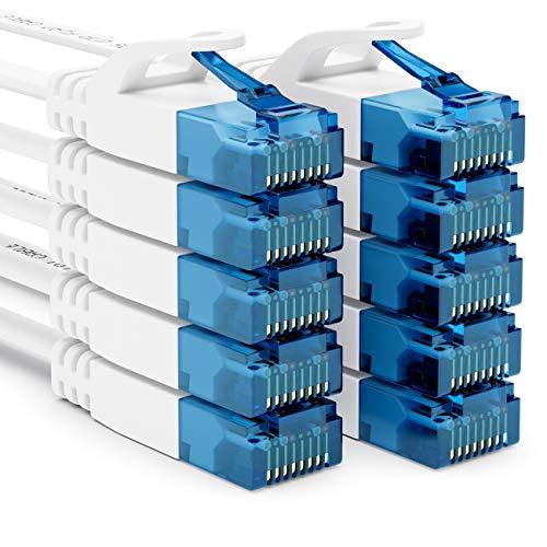 deleyCON 10x 0,5m CAT6 Cable de Red Plano Cable de Cinta de 1,5mm U-UTP RJ45 - Cable de Conexión UUTP para DSL LAN Conmutador de Módem Panel de Conexión de Repetidor - Blanco