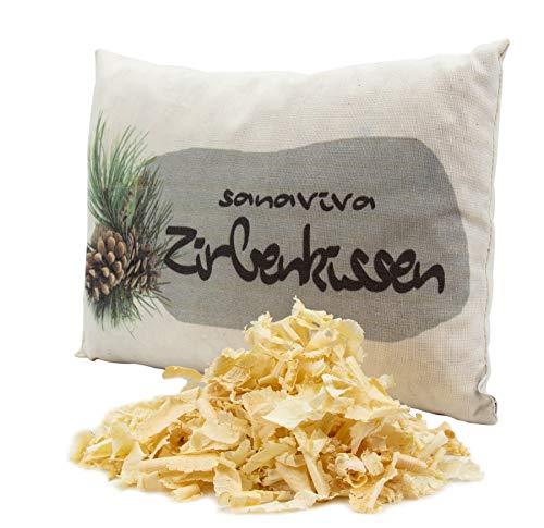 sanaviva® Zirbenkissen - Schlafkissen Zirbe 18x26cm, 100% ig reines Naturprodukt, Kissen gefüllt mit echten Zirbenspänen - Zirbenflocken aus Österreich