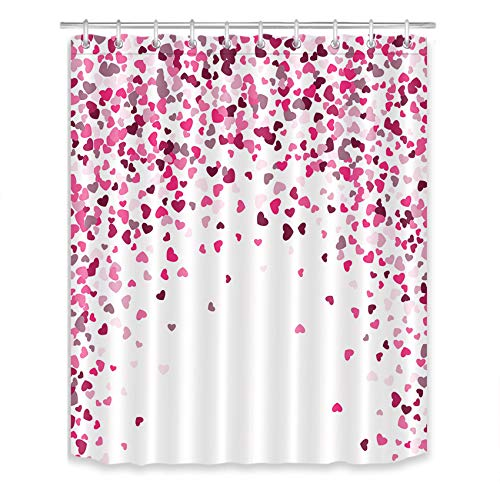 LB Romantic Flying Hearts Shower Curtain Love Theme Bathroom Curtain with Hooks 60x72 inch Waterproof Polyester Fabric Bathroom Decorations