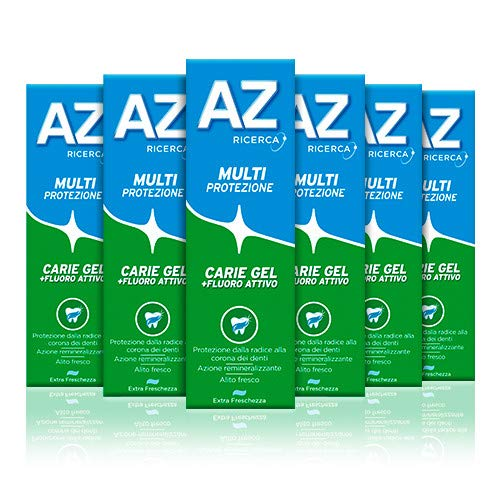 AZ Dentifricio Multi Protezione Carie Gel 6 x 75ml, Dentifricio al Fluoro per Adulti e Bambini