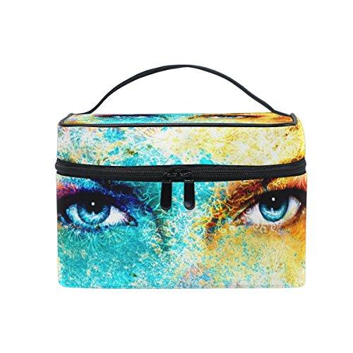 Sac de maquillage, Art God Eyes Imprimé Cosmétique de stockage de toilette Organiseur Coque Grande Poignée de voyage personnalisé Pouch avec compartiments pour Teenage Girl Femme Lady Collou