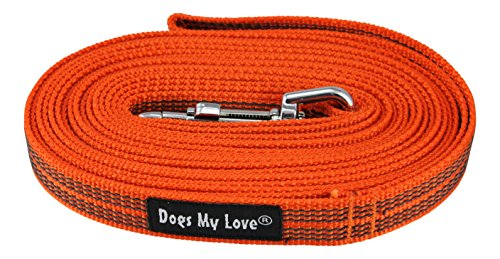 Dogs My Love Comfort Grip Non-Slip Dog Leash 4ft to 30ft Long for Smal and Medium Dogs 5/8-inch Wide (15 Ft, Orange)