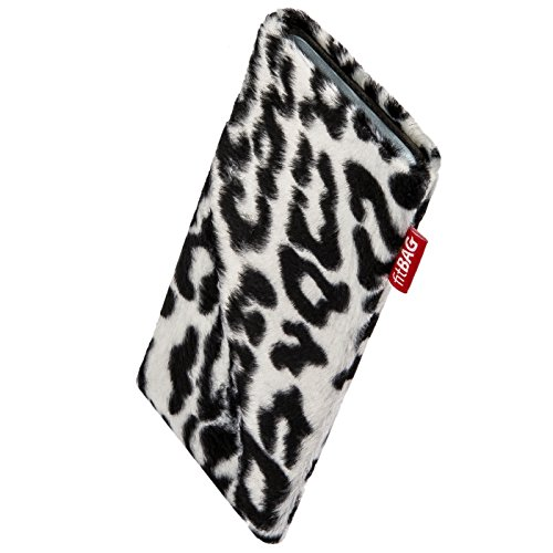 fitBAG Bonga Snow Leopard Custom Tailored Sleeve for Elephone P9000 Edge. Fine Imitation Fur Pouch with Integrated Microfibre Lining for Display Cleaning