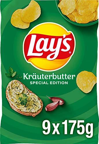 Lay's Kräuterbutter – Knusprig gesalzene Kartoffelchips für eine gelungene Party – 9 x 175g
