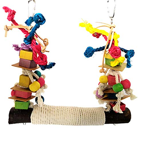 HPiano Papageienspielzeug, Vogelspielzeug für Vögel, Papageien, Schaukel, Kauspielzeug aus Naturholz, zum Aufhängen,Vögel Spielzeug Holz Glocke Vogel Schaukel Kauen Zubehör Bunt Holz Riesenrad