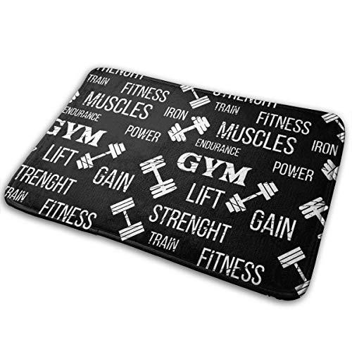 BLSYP Felpudo Gym Label Dumbbell Doormat Anti-Slip House Garden Gate Carpet Door Mat Floor Pads 15.8' X 23.6'