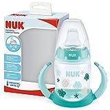 NUK First Choice+ - Biberón para aprender a beber de 6 a 18 meses, 150 ml, indicador de control de temperatura, boquilla antigoteo, asas ergonómicas, sin BPA, nube