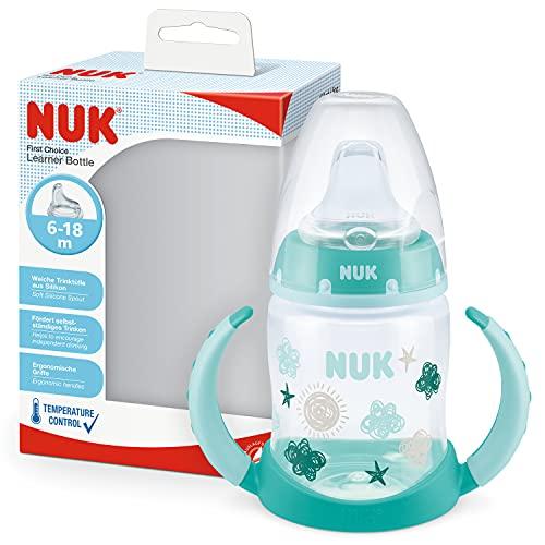NUK First Choice+ Trinklernflasche | 6–18Monate | 150 ml | Temperature Control Anzeige | auslaufsichere Trinkschnabel | Ergonomische Griffe | BPA-frei | Wolke
