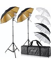 """Neewer® Flash Mount Drie Paraplu's Kit (2) 33""""/84cm Wit Zacht/Zilver Reflectief/Goud Reflecterende Paraplu voor Canon 430EX II, 580EX II, Nikon SB600 SB800, Yongnuo YN560, YN565, Neewer TT560, TT680"""