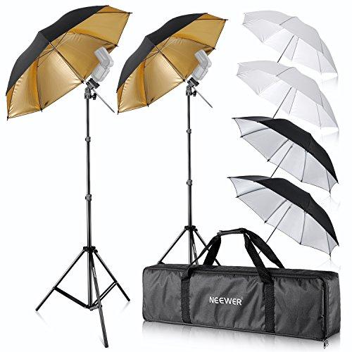 Neewer Foto Studio 2X DREI Regenschirme Kit 84cm Weisser Weicher Schirm + 84cm Silberner Reflektorschirm + 96, 5 cm Goldener Reflektierender Schirm für Portrait und Video Aufnahme