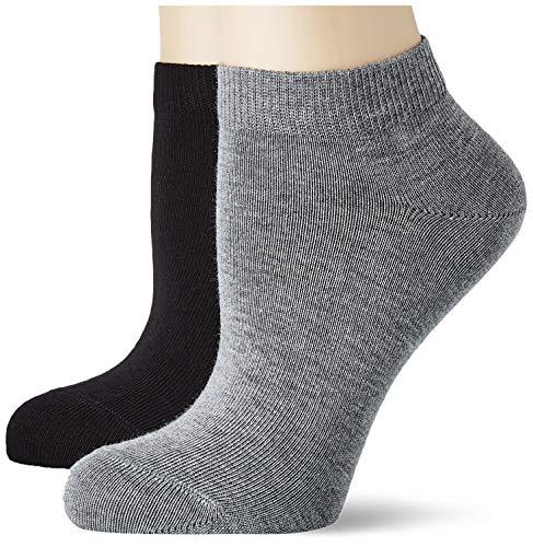 FALKE Kinder Sneakersocken 2er Set Happy - 85% Baumwolle, 2 Paar, Schwarz (Black/Light Grey 50), Größe: 31-34