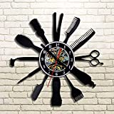 GXZGXZ Vinilo Creativo Reloj de Pared de Diseño Moderno Peluquería Cabello Belleza para Barbería Relojes Clásico CD Record Reloj de Pared Decoración para el Hogar Silencioso