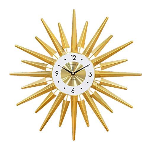 LiRuiPengBJ Relojes de Pared Reloj de Pared de Metal Sunburst, Reloj Silencioso Moderno Decorativo de Pilas Relojes de Cuarzo para Sala de Estar y Dormitorio Decoracion Pared