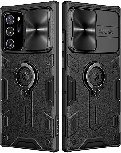 Nillkin CamShield Armor Hülle für Samsung Galaxy Note 20 Ultra Hülle mit Schiebekameraabdeckung, PC & TPU Silikon Cover stoßfeste Stoßstangen Schutzhülle mit Ringständer für Note 20 Ultra (Schwarz)