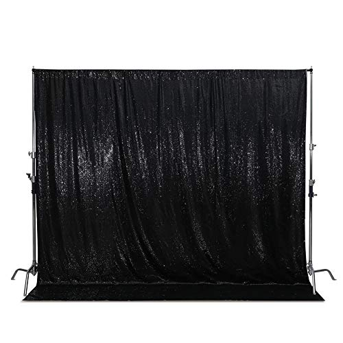 SquarePie Sequin Backdrop Non-Transparent Satin Photography Background Sparkly Curtain for Wedding Party 8FT x 8FT Black
