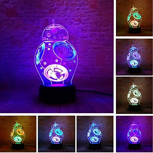 Star Wars BB-8 Kugelroboter 3D LED-Nachtlichter mit doppeltem Verwendungszweck 7 bunte Farbverlaufsrutschen Weihnachtskindergeburtstags-Weihnachtsgeschenke