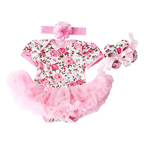 Baby Girls 3 Piece Sets Romper Dress Shoes and Headband Rose Flower Outfits Clothes Pink S:3-6Months
