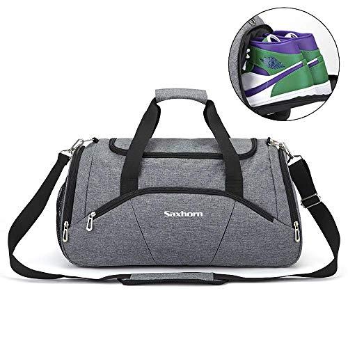 Saxhorn Sports Gymsack Seesack mit Schuhfach & Nassfach Reisetasche für Damen und Herren XL grau