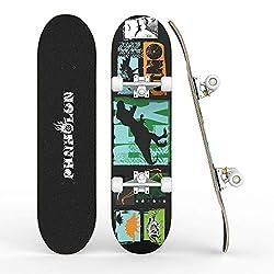 5. PHNHOLUN 31″ 8-layer Canadian Maple Dinosaur Skateboard