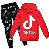 Conjunto de sudadera con capucha y pantalones, con diseño de Tik Tok, unisex, de moda, estilo deportivo, color rojo, ropa para niñas de 9 - 10 años