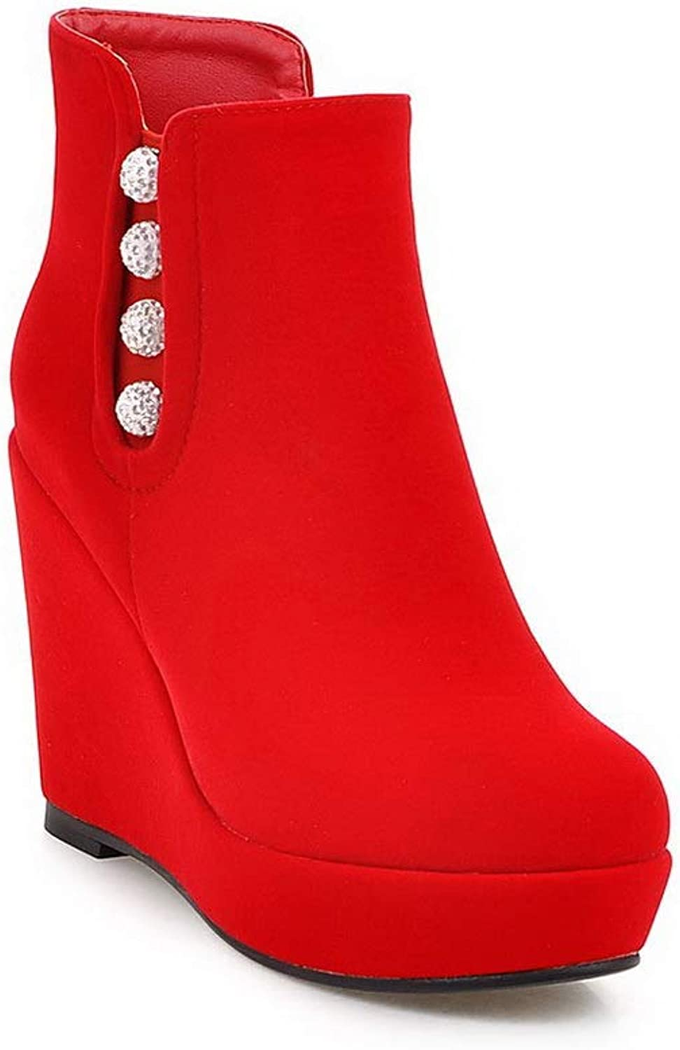 1TO9 Womens Wedges Platform Zipper Imitated Suede Boots MNS03259