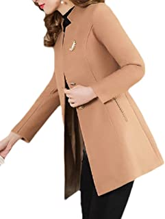 Womens Peacoat Slim Winter Stand Collar Wool Blend Long Trench Coat