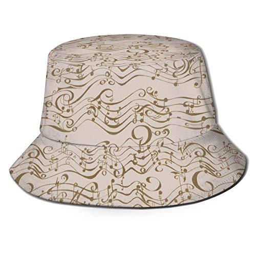 Hangdachang Phantom Music Sepia Hombres Mujeres Tendencias Moda Sombrero de Cubo
