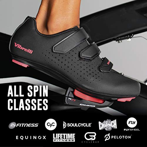 Vibrelli Womens Peloton Cycling Shoes - Indoor Spin Exercise Road Bike Shoes - Compatible with All Cleats - Look Delta, Shimano SPD, ARC - Ladies Cycle Shoes - Cleats Not Included Black/Pink