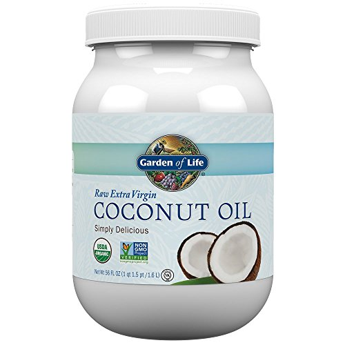 Garden of Life Coconut Oil for Hair, Skin, Cooking - Raw Extra Virgin Organic Coconut Oil, 110 Servings - Pure Unrefined Cold Pressed Oil with MCTs for Body Care or Baking, Aceite de Coco Organico