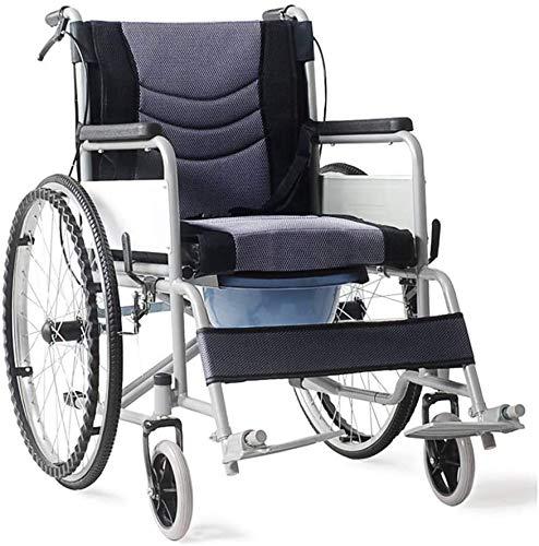NANI Aleación de aluminio plegable médico, Silla de ruedas con asiento de inodoro multifuncional carretilla respaldo ajustable y el levantamiento de las piernas for descansar azul racha de silla de ru