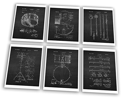 Drum Posters Set of 6 Unframed Patent Art Chalkboard Gift
