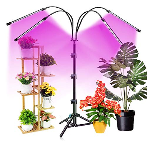 Grow Light with Stand, 80 LED Floor Standing Plant Growing Lamp with Red Blue Bulbs for Indoor Plants, 3 Modes & 10 Dimmable Levels with 3/9/12H Timer(Purple)
