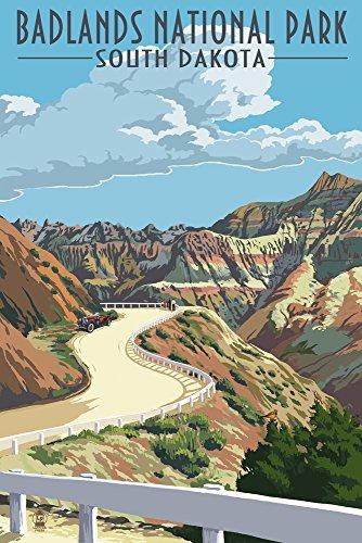 Badlands National Park, South Dakota, Road Scene (9x12 Art Print, Wall Decor Travel Poster)