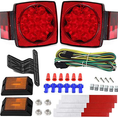 12V Trailer Light Kit DOT Certified Utility Trailer Lights for Boat RV Car Easy Assembly with Wire Harness Wafer LED Waterproof Durable All-in-one Tail Light Kit for Under 80 Inch