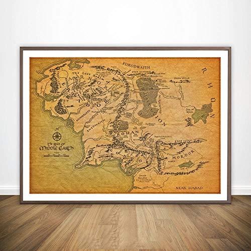 Lienzo Pintura Mapa de la Tierra Media de El Señor de los Anillos Película Arte de la Pared decoración de la Pared del Cartel Imprimir Pintura al óleo del Arte No Frame Pinturas