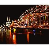 Kit de pintura de diamante 5D DIY painting Vista nocturna del puente de agua, iluminación neón paisaje Crystal Rhinestone de punto de cruz bordado artes manualidades suministros para decoración d