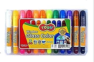 Toru Window Glass Color Crayon Marker Washable Paper Aqua Non-Toxic 12 Colors
