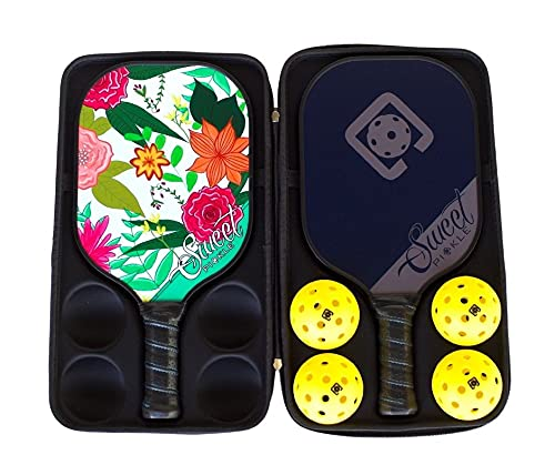 Tropical Paradise/Midnight Pickleball Paddle Set; PP Honeycomb Core; Carbon Graphite Surface Pickleball Paddles; Soft Cushion Grips, Low Profile Edge Guards, Lightweight Pickleball Rackets with case