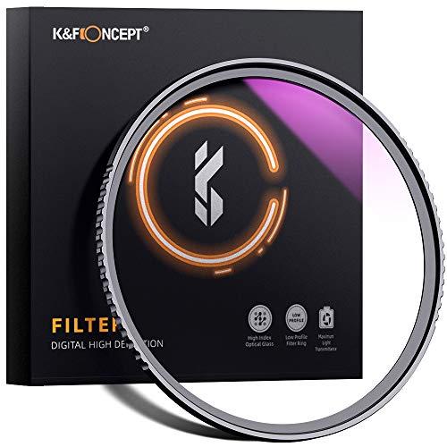 K&F Concept Filtrode Protección Ultravioleta UV55mm con MRC Multirresistentes para Objetivo de 55mm con Funda
