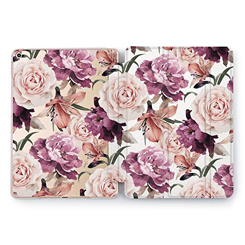 Wonder Wild Case Compatible with Apple iPad Brunch Blooming Mini 1 2 3 4 Air 2 Pro 10.5 12.9 Tablet 11 10.2 9.7 inch Cover Stand Pink Peony Seasons Flower Pretty Sweet Beautiful Tree Leaves Design