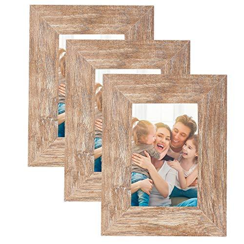HelaAccueil 3er Set Holzbilderrahmen Bilderrahmen 10x15 cm, aus MDF mit Hochauflösende Glas